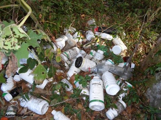 Butelki po pestycydach znalecione w Parku Narodowym Volcan Baru w Panamie/Las botellas de pesticidas encontradas en el parque nacional Volcan Baru